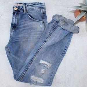 Zara High Rise Distressed Boyfriend Denim Jeans
